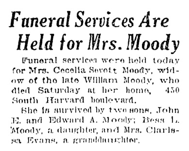 Cecilia Sevott Moody - funeral - Los Angeles Evening Express - December 16 1924 - page 15 - column 1