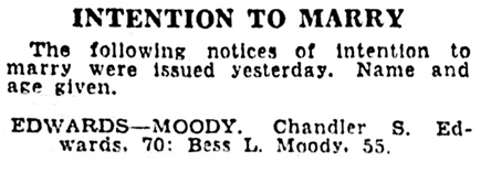 Chander S Edwards and Bess L Moody - intention to marry - Los Angeles Times - June 2 1934 - page 12 - column 3