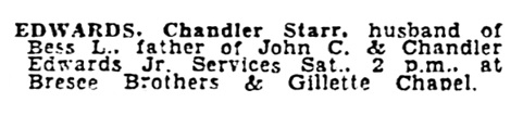 Chandler Starr Edwards - death notice - Los Angeles Times - October 5 1945 - page 21 - column 2