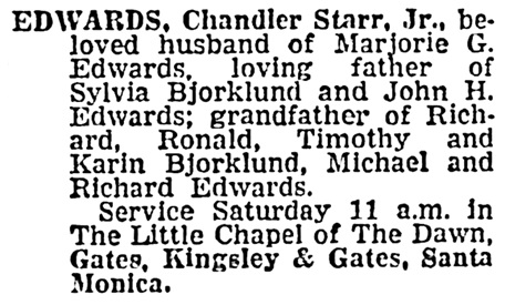 Chandler Starr Edwards Junior - death notice - Los Angeles Times - September 8 1966 - page 30 - column 2