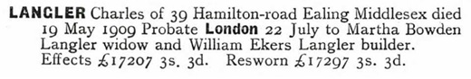 Charles Langler - probate - death date - May 19 1909