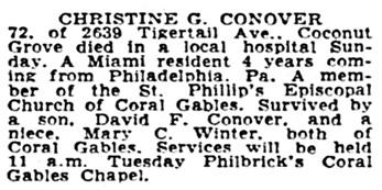 Christine G Conover - death notice - Miami News - Miami - Florida - December 19 1949 - page 25 - column 6