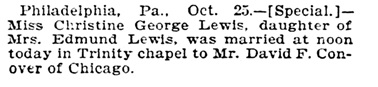 Christine George Lewis and David F Conover - marriage - Chicago Tribune - October 26 1904 - page 9 - column 4