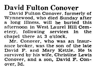 David Fulton Conover - obituary - Philadelphia Inquirer - June 1 1943 - page 38 - column 2