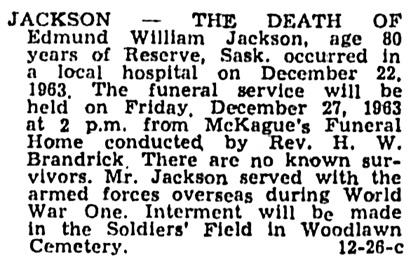 Edmund William Jackson - death notice - Saskatoon Star-Phoenix - December 24 1963 - page 28 - column 1