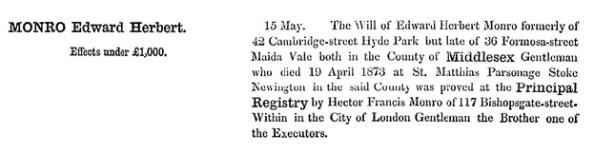 Edward Herbert Monro - death date - April 19 1873