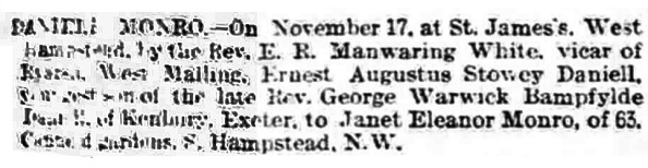Ernest Augustus Stowey Daniell and Janet Eleanor Monro - marriage - The Standard - London - England - November 19 1900 - page 1 - column 1