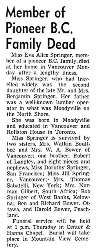 Eva Alice Springer - obituary - Vancouver Sun - November 13 1951 - page 38 - column 4