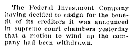 Federal Investment Company - assignment for benefit of creditors - Vancouver Sun - February 24 1914 - page 4 - column 4