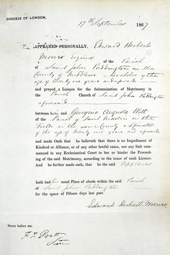 Georgina Augusta Witt and Edward Herbert Monro - marriage allegation - September 17 1867