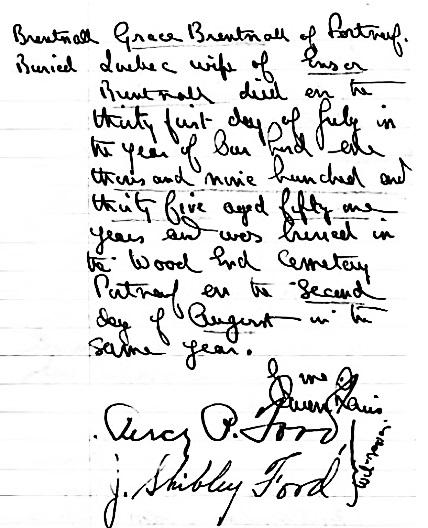Grace Brentnall - burial date - 1935