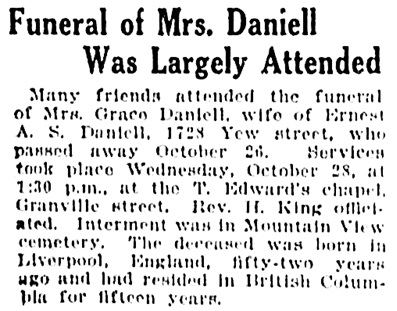 Grace Daniell - funeral - Vancouver Province - November 7 1925 - page 12 - column 4