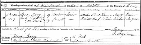 Henry Bragg and Mary Elizabeth Blackwell - marriage date - October 16 1859