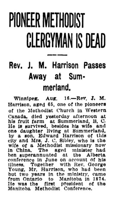 J M Harrison - obituary - Vancouver Province - August 16 1915 - page 15 - column 4