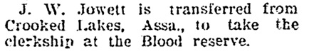 J W Jowett - to Blood Reserve - Calgary Herald - December 1 1903 - page 4 - column 5