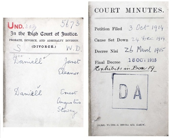 Janet Eleanor Daniell and Ernest Augustus Slavey Daniell - Divorce Court File Number 5673 - court minutes