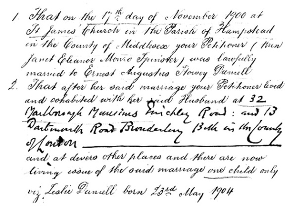 Janet Eleanor Daniell and Ernest Augustus Slavey Daniell - Divorce Court File Number 5673 - extract from petition