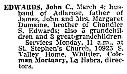 John C Edwards - death notice - Los Angeles Times - March 7 1964 - page 14 - column 2
