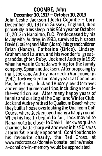 John Leslie Jackson Coombe - death notice - Vancouver Sun - October 16 2013 - page C16 - column 2