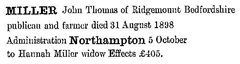 John Thomas Miller - death date - August 31 1898