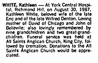 Kathleen White - death notice - Toronto Globe and Mail - September 3 1987 - page A17 - column 6