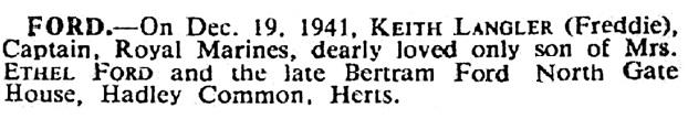 Keith Langler Ford - death date - December 19 1941