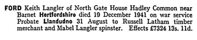Keith Langler Ford - probate - death date - December 19 1941