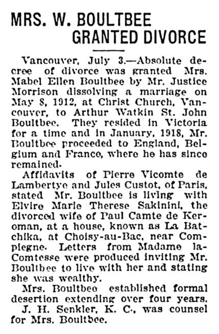 Mabel Ellen Boultbee - Arthur Watkin St John Boultbee - divorce granted - Victoria Daily Times - July 3 1923 - page 6 - column 3