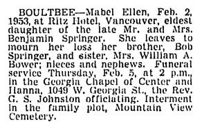 Mabel Ellen Boultbee - death notice - Vancouver Sun - February 4 1953 - page 27 - column 3