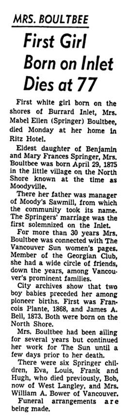 Mabel Ellen - Springer - Boultbee - obituary - Vancouver Sun - February 3 1953 - page 3 - column 8