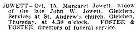 Margaret Jowett - death notice - Calgary Herald - October 16 1928 - page 2 - column 2