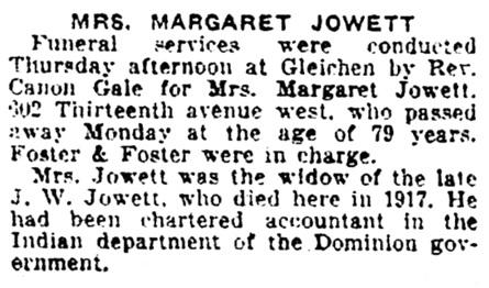 Margaret Jowett - funeral - Calgary Herald - October 18 1928 - page 14 - column 2