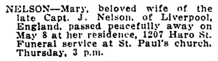 Mary Nelson - death notice - Vancouver Daily World - May 9 1917 - page 14 - column 1
