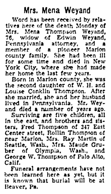 Mena - Wilhelmina - Thompson Weyand - obituary - Marion Star - Marion - Ohio - February 17 1948 - page 8 - column 4