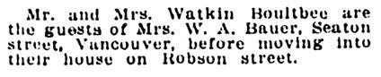 Mr and Mrs Watkin Boultbee - staying with Mrs W A Bauer - Winnipeg Tribune - November 12 1912 - page 9 - column 3