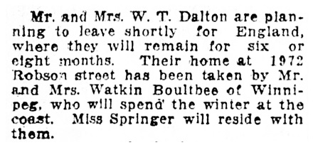 Mr and Mrs Watkin Boultbee - to 1972 Robson Street - Vancouver Province - October 25 1912 - page 8 - column 1