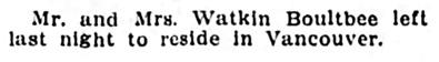 Mr and Mrs Watkin Boultbee - to Vancouver - Winnipeg Tribune - October 1 1912 - page 9 - column 3