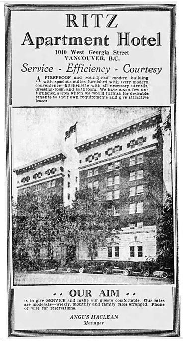 Ritz Apartment Hotel - Vancouver Province - April 26 1929 - page 15 - columns 7-8