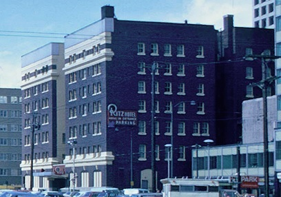 Ritz Hotel - May 15 1974 - detail from Burrard Street west side - Vancouver City Archives - CVA 778-24-700