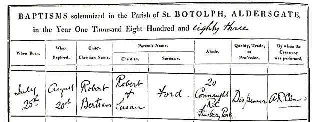 Robert Bertram Ford - baptism date - August 20 1883