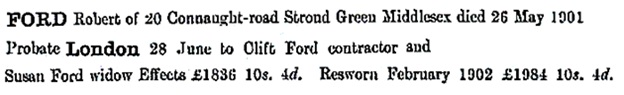 Robert Ford - probate - death date - May 26 1901