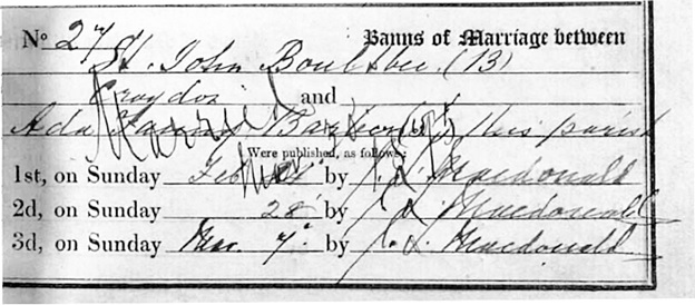 St John Boultbee and Ada Fanny Barbone - Barber - marriage banns - March 7 1875