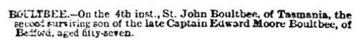 St John Boultbee - death notice - Morning Post - London - England - September 12 1898 - page 1 - column 1