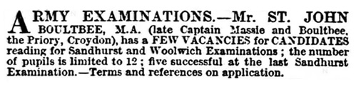 St John Boultbee - teacher for army examinations - Morning Post - London - England - April 18 1883 - page 1 - column 2