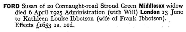 Susan Ford - probate - death date - April 6 1925