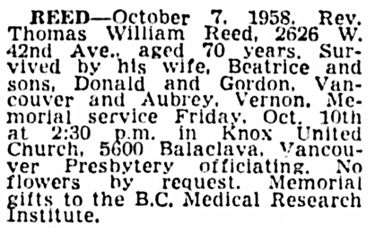 Thomas William Reed - death notice - Vancouver Province - October 10 1958 - page 34 - column 3