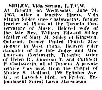 Vida Struan Sibley - death notice - Toronto Globe and Mail - June 29 1964 - page 34 - column 8