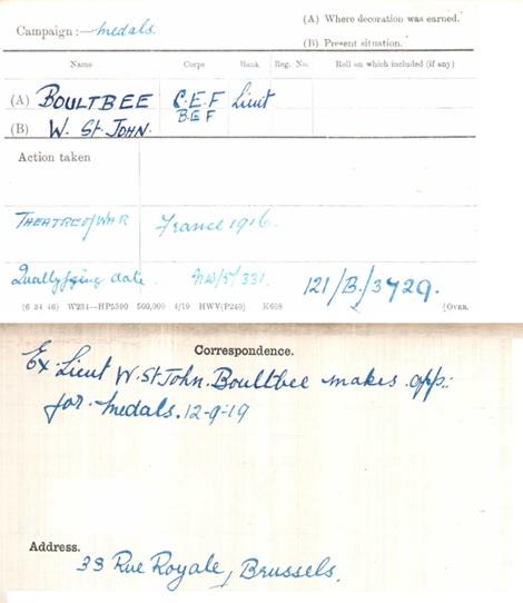 W St John Boultbee - war medals