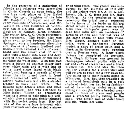 Watkin St John Boultbee and Mabel Ellen Springer - marriage - Vancouver Province - May 8 1912 - page 8 - column 3