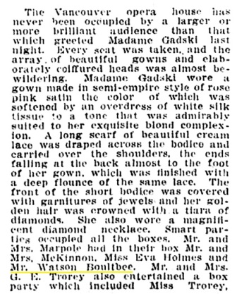 Watson - Watkin Boultbee - Vancouver opera house - Madame Gadski - Vancouver Province - January 26 1909 - page 16 - column 3
